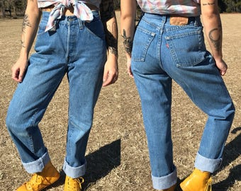 Vintage 501 Levi's for Women High Waisted Button Fly Everyday Wash Denim | xxs | extra small | 23 | 24 | 25