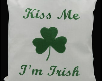"Embroidered Decorative Pillow Cover - Kiss Me I'm Irish - Shamrock - St Patricks Day - Fits 18""x18"" Insert - Natural (READY TO SHIP)"
