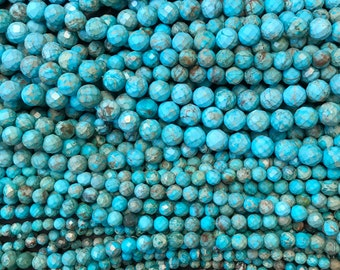 Faceted Round turquoise Beads 6,8,10, 12mm  - 15 inch strand