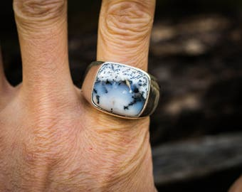 Dendritic Agate Ring 12 - Merlinite Ring - Merlinite Ring Size 12 - Mens Agate Ring - Men's Merilite Ring - Mens Agate Ring - Mens Jewelry