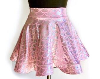 Available in pink and seafoam blue! Fishscale Mermaid Circle Short Skirt Festival Halloween Hologram Crinoline