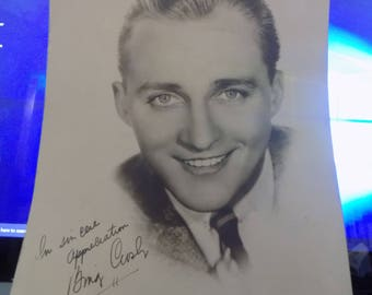 Vintage C. 1930s Sepia Toned Photograph of Bing Crosby Autographed 8x10 Nice Piece