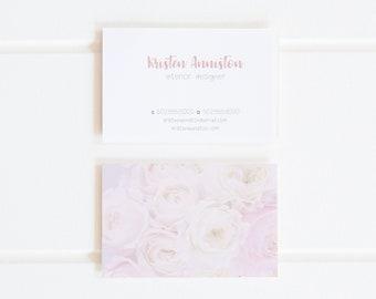 Business Card, Modern Business Card, Printable Business Card, Pink Floral Business Card, Floral Business Card, Bloom Ink Co, Digital File