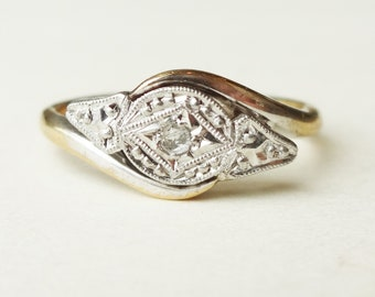 Art Deco Geometric Ring, Vintage Diamond Engagement Ring, 9k Gold and Platinum Approx Size US 6