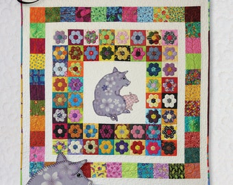 Pattern -- Pigs on a Blanket -- Pig Quilt Sewing Pattern -- Traditional Paper Quilt Pattern -- Hand or Fusible Appliqué Quilt Pattern