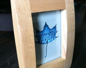 Navy Blue Maple in an Oblong Frame