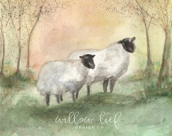 Sheep, lamb, ewe, lamb Watercolor Print
