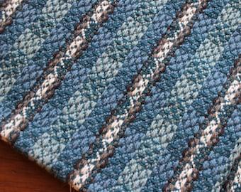 Handwoven Towel Bread Cloth Kitchen Dish Hand Woven Cotton Linen White Blue Gray Grey Basket Liner