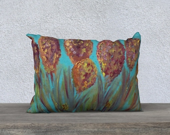 "Don't Let Me Go 20"" x 14"" Pillow cover, floral pillow cover,teal floral pillow case, red flower pillow case, home decor, garden pillow, rust"