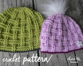 Crochet Hat PATTERN No.32 - Uni Interweaved Winter Hat Crochet Pattern