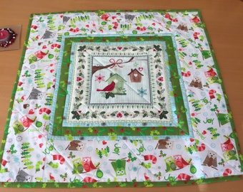 Christmas Table Centrepiece Topper, Wall Hanging, Quilted Table Runner Holly