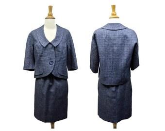 "1960s Vintage Summer Skirt Suit - Size Small Waist 26"" - Blue  - Platter Collar - Wonderful Tailoring"