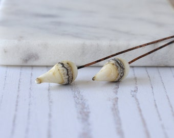 Handmade Organic Ivory Glass Head Pins on Long Copper Wire