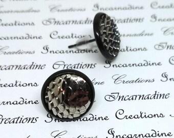 Gunmetal grey/silver mirror mermaid dragon scale post stud earrings
