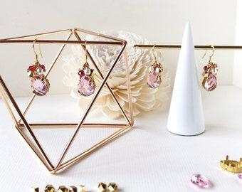 Strawberry Shortcake, rose pink crystal earrings,  Baby Pink earrings, Pink dangle earrings, Pink Crystal Long Earrings, Pink Drop Earrings,