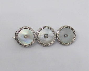 Arts and crafts Sterling silver Mother of Pearl seed pearl brooch
