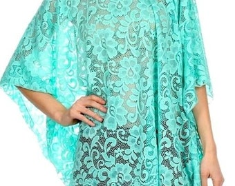 Kimono Tunic Plus Size 1X to 3X Lace Hand Made in Malibu Studio California Boho Inspired Design