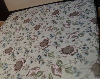 Floral fitted sheet, bedding set, natural cotton, flowers grey, single bedding, double bedding, adult pink grey blue