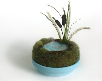 Cattails by the Pond Sculpture Home Decor - Miniature Pond Scene Made To Order