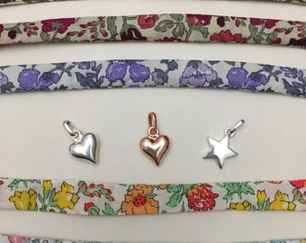 Liberty Tana lawn MEADOW tie bracelet with optional silver plated heart or star charm