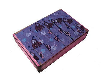 Purple Flowers - Aceo Giclee print mounted on Wood (2.5 x 3.5 inches) Folk Art  by FLOR LARIOS