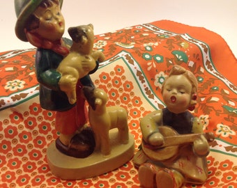 pair Hummel style reproduction vintage plaster figures boy with 2 sheep & girl with mandolin lyre