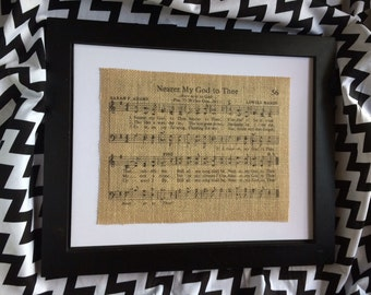 "Hymn Burlap Print ""Nearer My God To Thee"""