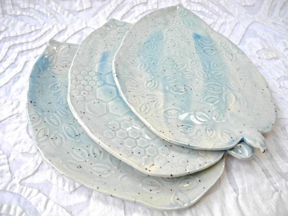Tapas Plates, Pale Blue, Leaf Plates, Small Plates, Appetizer Plate, Speckled Stoneware, Watercolor ceramics, ceramic plates, Pottery Plates