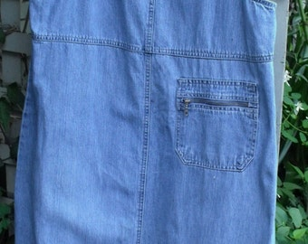 Denim Jumper/ Size Medium Overall Style Jumper/ Retro Denim Dress/ Shabbyfab Recycled Funwear