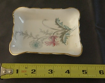 Aynsley 8180 WAYSIDE bone china floral gold rim mini tray