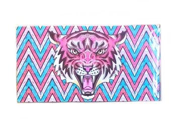 Porte-chéquier - tigre rose chevron - porte chéquier - rose et turquoise zigzaguent Tigre du Cirque