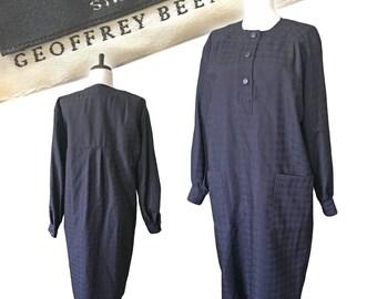 Vintage GEOFFREY BEENE Houndstooth Shift Dress — Med