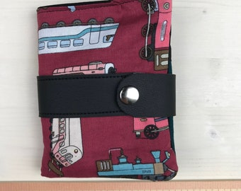 Wallet fabric cotton pockets trains on grape Marc