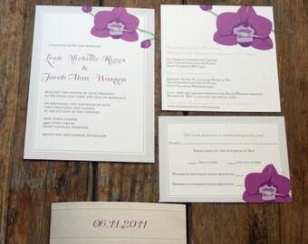 Modern Wedding Invitations,Orchid Wedding Invitation, Custom Floral Wedding Invitation, Modern flowers wedding invites, Modern Orchid Invite
