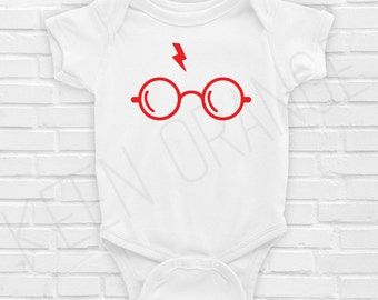 Glasses Lightning Bolt Wizard Scar Baby Infant Onesie