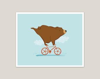 Ride On - Biking Bear - Art Print 8x10