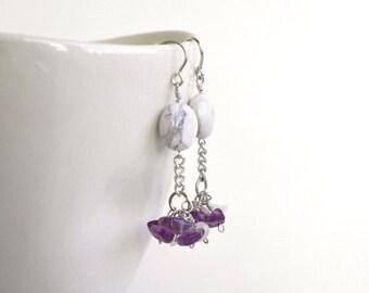 Purple amethyst earrings, Gemstone cluster earrings, Unique earrings, Natural stone jewelry, Sterling silver, Bridal gemstone earrings
