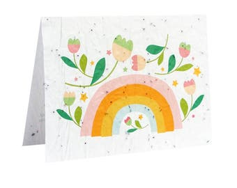Seeded paper greeting card - Rainbow