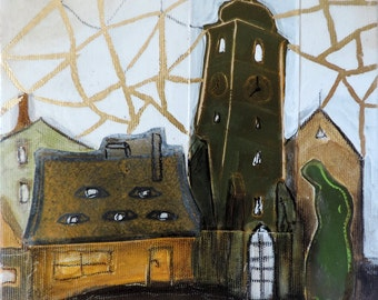 Original acrylic painting, gilded canvas, gold leaf, medieval houses, tower roof, green collage, art gift, ready to hang picture Europe eyes