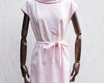 1960s Brocade Dress • Pink Floral Pencil Dress • True Vintage Crimplene Dress • Cowl Neck Shift Dress • 1960s Mod Dress • Scooter Dress. S