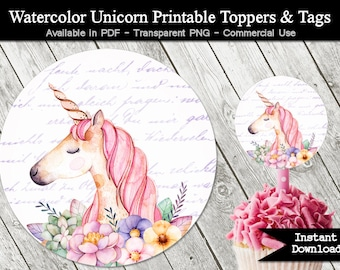 Unicorn Birthday Party Cupcake Toppers - Tags - Stickers - Printable PDF  - Pink Pastel Watercolor Teen Party