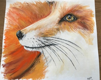 Fox No.1 in Gouache Close Up Original Painting Signed and Dated