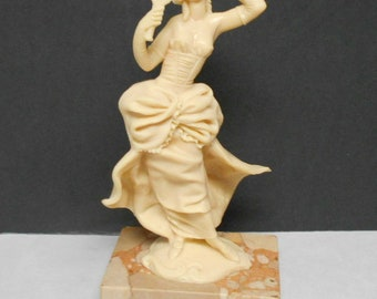 Hard Plastic Victorian Girl Figurine on Marble Base. Made in Italy. Bakelite?