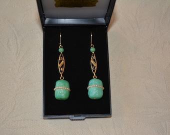 Antique 1920's deco earrings antique jewelry Rousselet Paris.