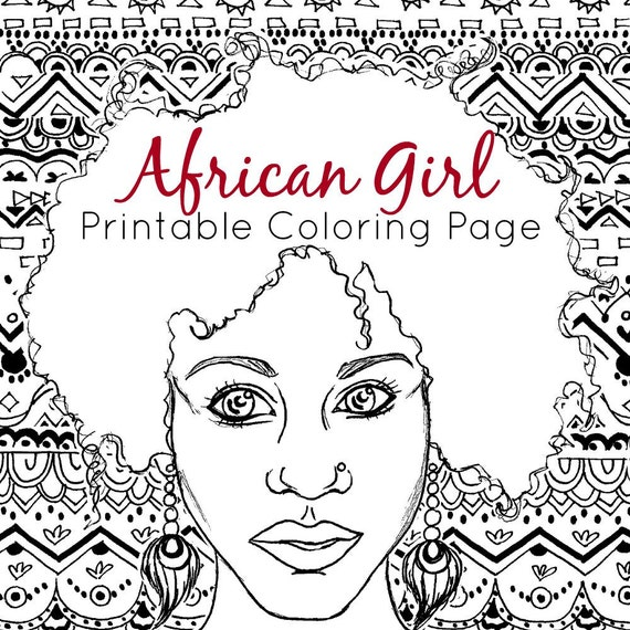 African Coloring Page Adult Coloring Page African Girl