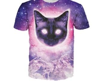 Black Cat Space Kitten 3D Printed T Shirt