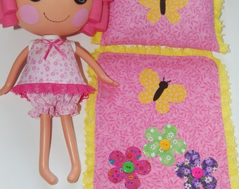 """Lalaloopsy Pattern -Summer Pajamas with Butterfly Blanket & Pillow  for 12"""" Lalaloopsy dolls- pdf sewing pattern"""