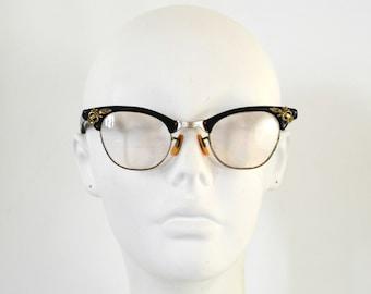 1950s/1960s Black Cat Eye Gold Filled Frame Eyeglass by S.R.O