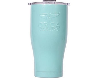 Personalized Orca Coolers High Gloss 27oz, Stainless Steel, Seafoam with Clear Lid