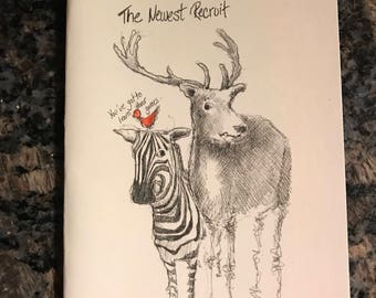 The Newest Recruit, Reindeer and Zebra Christmas Card, Hand drawn card, Handmade Christmas Card, Zebra Holiday Card, Reindeer Holiday Card